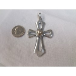 JAMES AVERY large huge Cross Pendant Sterling Silver and 14k / 585 gold