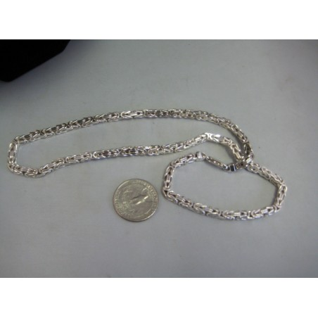 "Sterling Silver 925 byzantine chain necklace 20"" inch Italian 50 grams - SOLD"