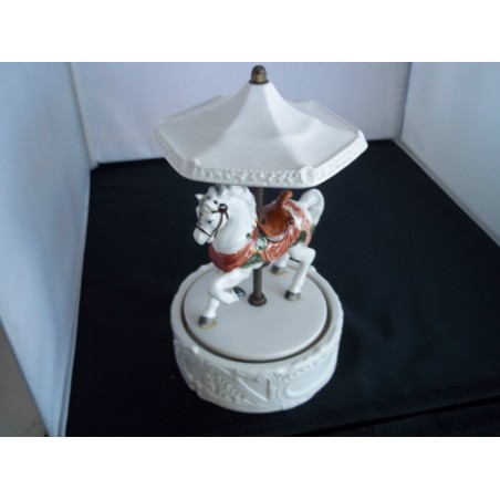 Vintage Porcelain Horse Carousel Figurine Music Box Antique piece rare Japanmade - SOLD