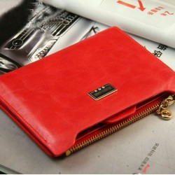 Red Genuine Leather Credit...